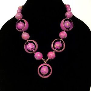 Vintage Metal Circular Beads Necklace Fuschia Boho